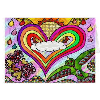 Psychedelic Rainbow Heart Art Print Greeting Card