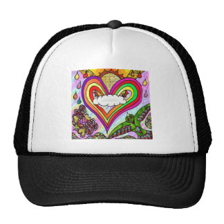 Psychedelic Rainbow Heart Art Print Trucker Hat