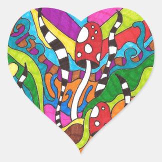 Psychedelic Rainbow Hippy Design Heart Sticker