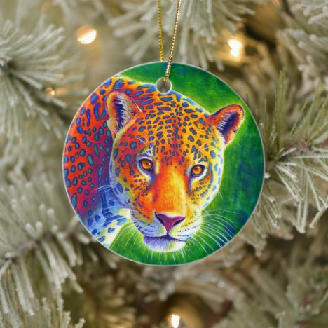 Psychedelic Rainbow Jaguar Ceramic Ornament