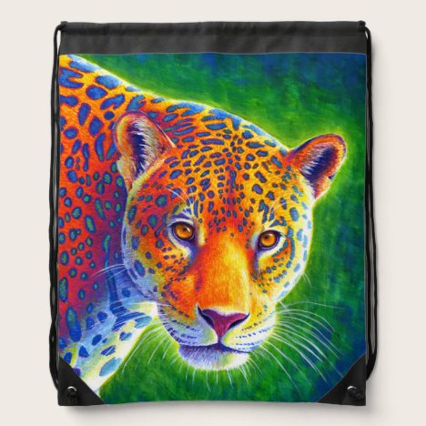Psychedelic Rainbow Jaguar Drawstring Backpack