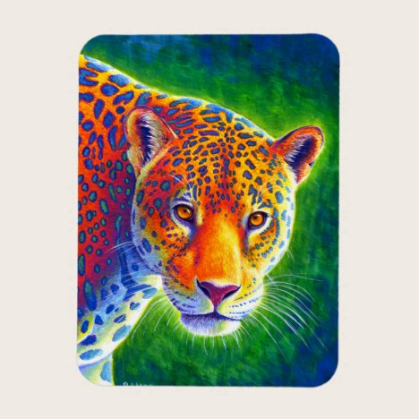 Psychedelic Rainbow Jaguar Flexible Magnet