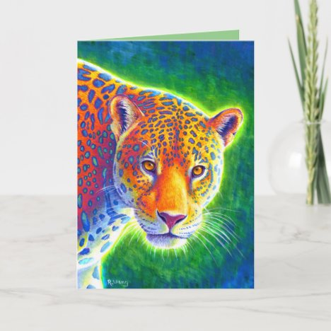 Psychedelic Rainbow Jaguar Greeting Card