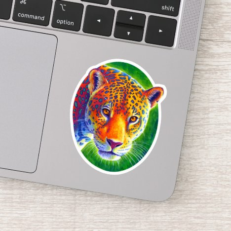 Psychedelic Rainbow Jaguar Vinyl Sticker