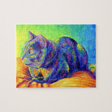 Psychedelic Rainbow Kitty Cat Jigsaw Puzzle