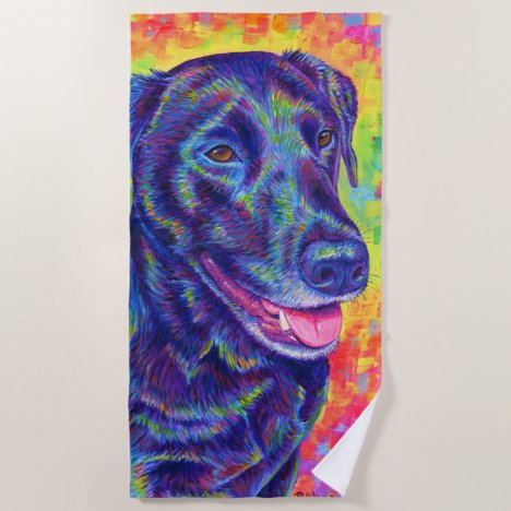 Psychedelic Rainbow Labrador Retriever Beach Towel