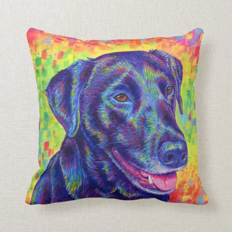 Psychedelic Rainbow Labrador Retriever Dog Pillow