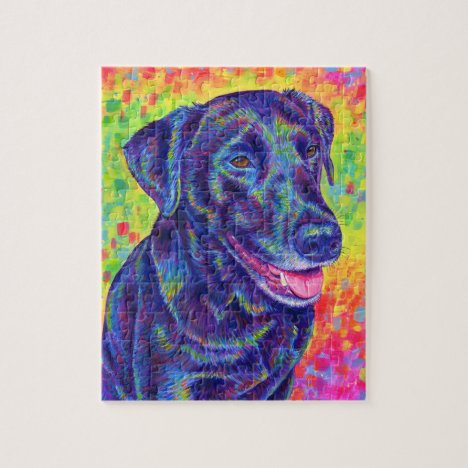 Psychedelic Rainbow Labrador Retriever Dog Puzzle