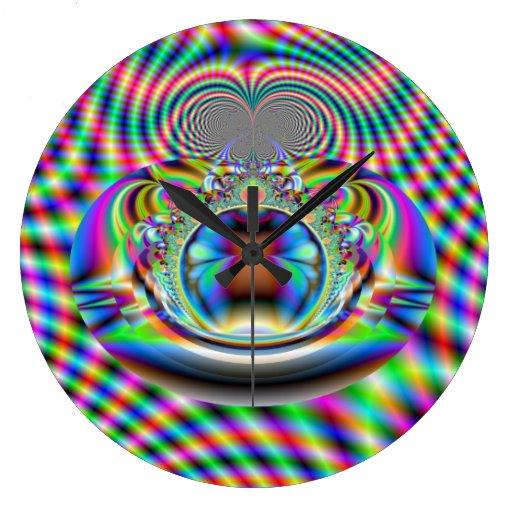 Psychedelic Rainbow Laser Beams Fractal Clock