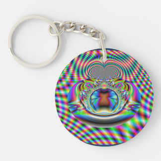 Psychedelic Rainbow Laser Beams Fractal Double-Sided Round Acrylic Keychain