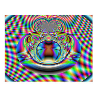 Psychedelic Rainbow Laser Beams Fractal Postcards