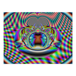 Psychedelic Rainbow Laser Beams Fractal Poster