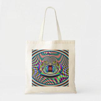 Psychedelic Rainbow Laser Beams Fractal Tote Bag
