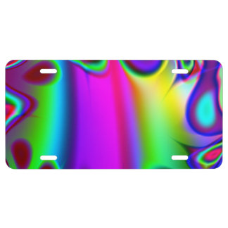 Psychedelic Rainbow License Plate