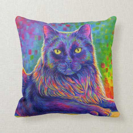 Psychedelic Rainbow Longhair Black Cat Pillow