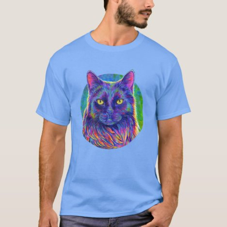 Psychedelic Rainbow Longhaired Black Cat T-Shirt