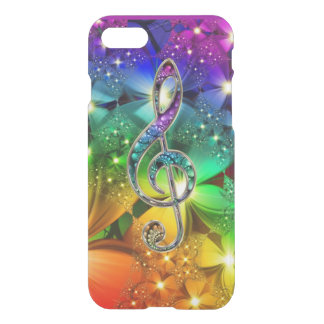 Psychedelic Rainbow Music Clef iPhone 7 Case