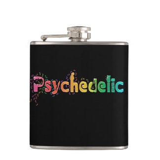 Psychedelic Rainbow Music Notes Flask
