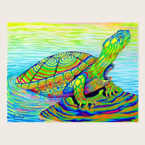 Psychedelic Rainbow Neon Painted Turtle Postcard