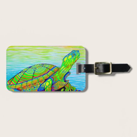 Psychedelic Rainbow Neon Turtle Luggage Tag