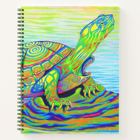 Psychedelic Rainbow Neon Turtle Spiral Notebook
