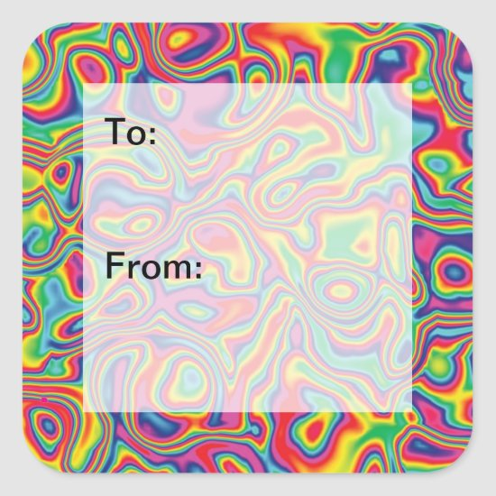 Psychedelic Rainbow Oil Pattern Gift Tags