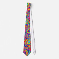 Psychedelic Rainbow Oil Pattern Neck Tie