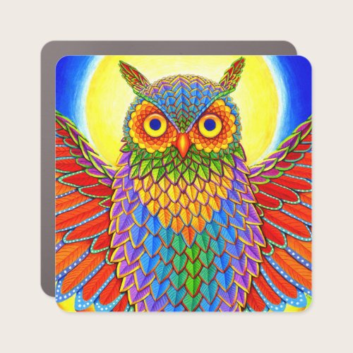 Psychedelic Rainbow Owl Car Magnet