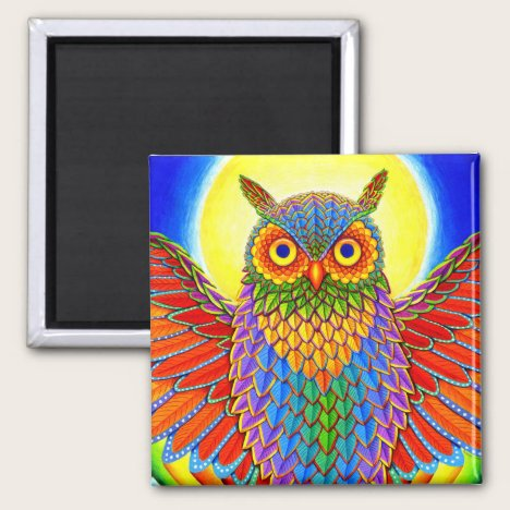 Psychedelic Rainbow Owl Colorful Magnet