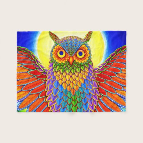 Psychedelic Rainbow Owl Fleece Blanket