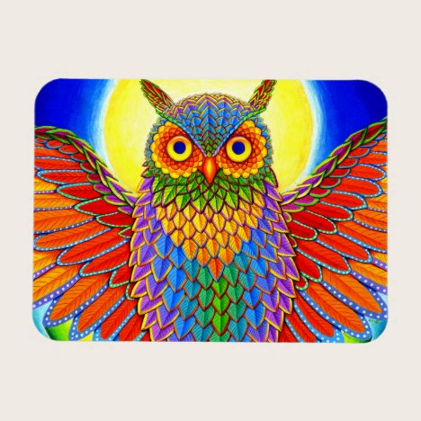 Psychedelic Rainbow Owl Flexible Magnet