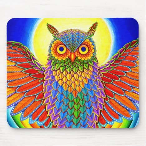 Psychedelic Rainbow Owl Mouse pad