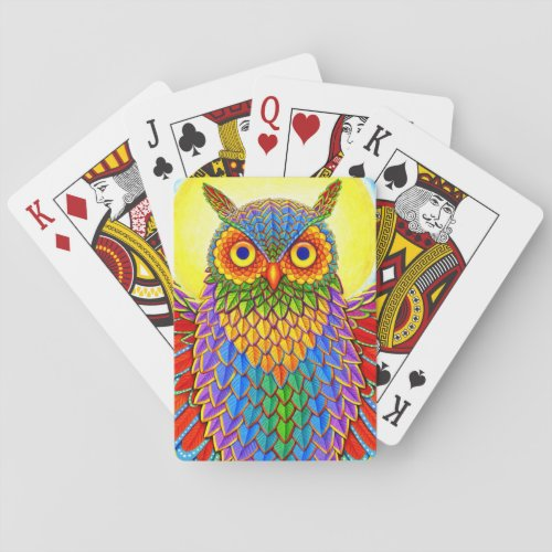 Psychedelic Rainbow Owl Playing Cards