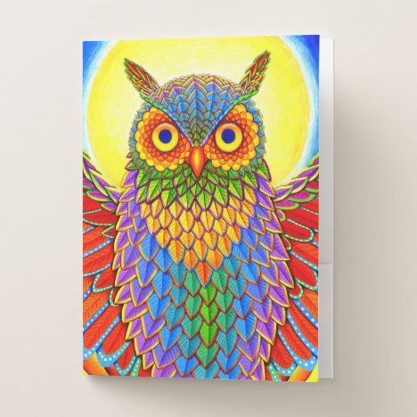Psychedelic Rainbow Owl Pocket Folder