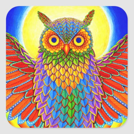 Psychedelic Rainbow Owl Stickers