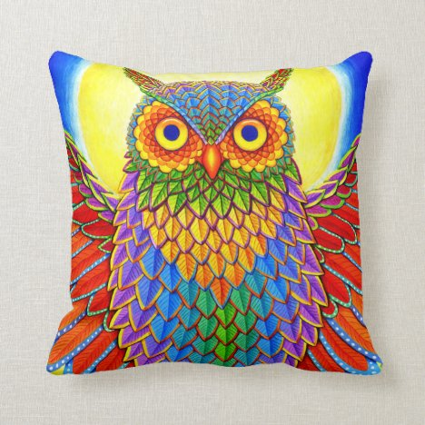 Psychedelic Rainbow Owl Throw Pillow
