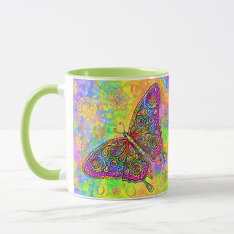 Psychedelic Rainbow Paisley Bohemian Butterfly Mug