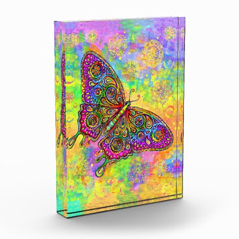 Psychedelic Rainbow Paisley Butterfly Art Block