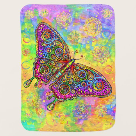 Psychedelic Rainbow Paisley Butterfly Baby Blanket