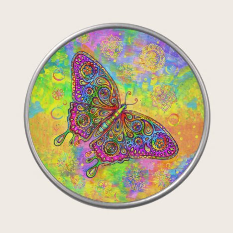 Psychedelic Rainbow Paisley Butterfly Candy Tin