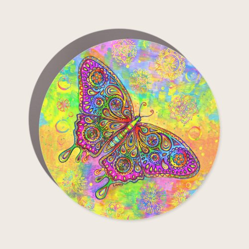 Psychedelic Rainbow Paisley Butterfly Car Magnet