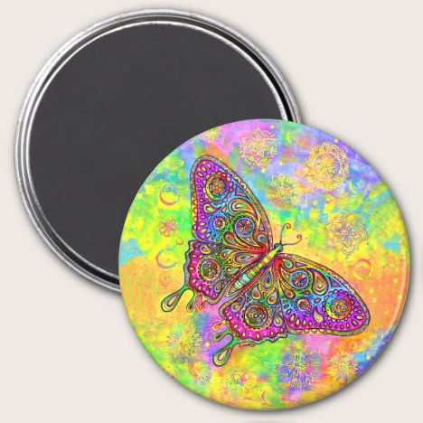 Psychedelic Rainbow Paisley Butterfly Magnet