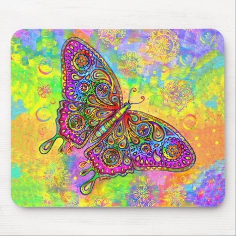Psychedelic Rainbow Paisley Butterfly Mouse Pad