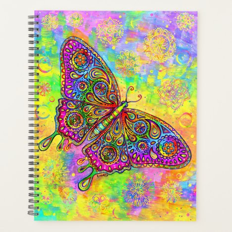 Psychedelic Rainbow Paisley Butterfly Planner