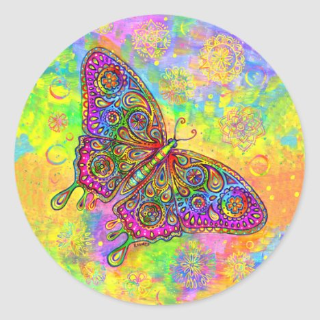 Psychedelic Rainbow Paisley Butterfly Stickers