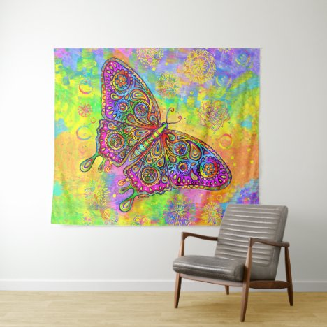 Psychedelic Rainbow Paisley Butterfly Tapestry