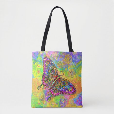 Psychedelic Rainbow Paisley Butterfly Tote Bag