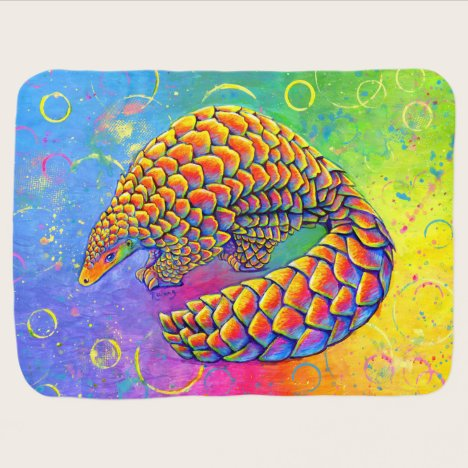Psychedelic Rainbow Pangolin Baby Blanket