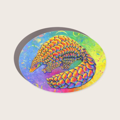 Psychedelic Rainbow Pangolin Car Magnet