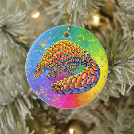 Psychedelic Rainbow Pangolin Ceramic Ornament